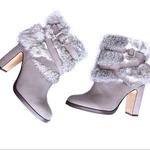 Louise et Cie Yuma Rabbit Fur Ankle Booties Boots